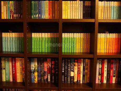 正面から見た木製の本棚の写真素材 [FYI02919858]