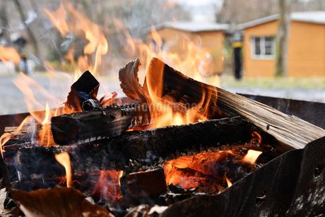 キャンプの焚火の写真素材 [FYI02921960]