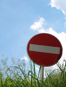 雑草の中の進入禁止の写真素材 [FYI02923607]