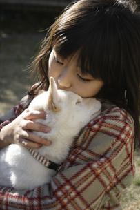 白柴犬の子犬を抱く10歳の女の子の写真素材 [FYI02927686]