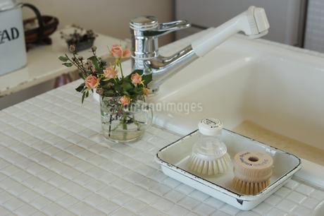 タイルのキッチンの小物とシンクの写真素材 [FYI02928667]
