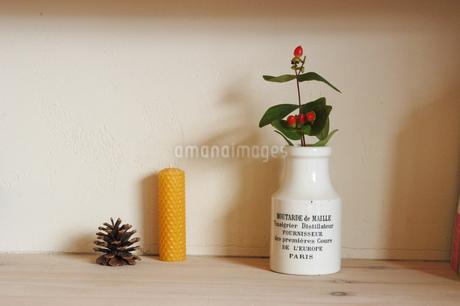 陶器の瓶に生けた植物とキャンドルの写真素材 [FYI02928693]