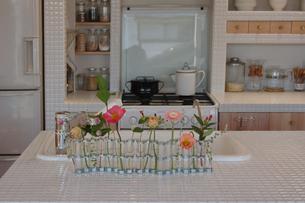 キッチンの上の花瓶の花の写真素材 [FYI02928706]