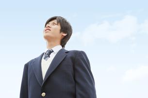 空を見上げる男子中高生の写真素材 [FYI02930890]