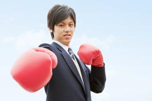 ボクシンググローブをつけた男子中高生の写真素材 [FYI02930891]