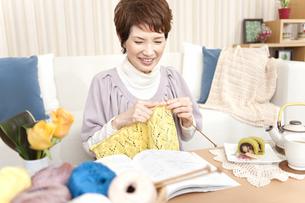 編み物をしている中高年女性の写真素材 [FYI02930933]