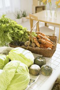 キッチンに置かれた新鮮な野菜の集合の写真素材 [FYI02931476]