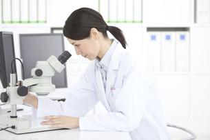 顕微鏡を覗く女性研究員の写真素材 [FYI02932807]