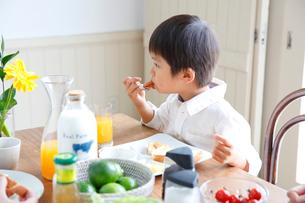 朝食を食べる男の子の写真素材 [FYI02933777]