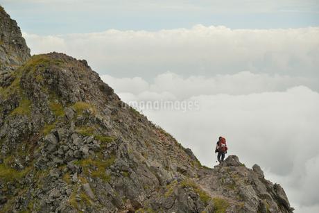 八ヶ岳の稜線を歩く登山者と雲海の写真素材 [FYI02935364]