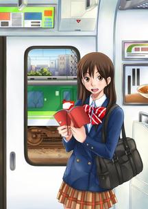 電車の中で本を読む女子学生のイラスト素材 [FYI02935638]