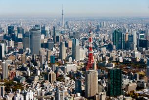 東京スカイツリーと東京タワーの写真素材 [FYI02935654]