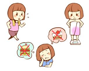 女性のダイエット ジョギングと食事制限と体重測定のイラスト素材 [FYI02935705]