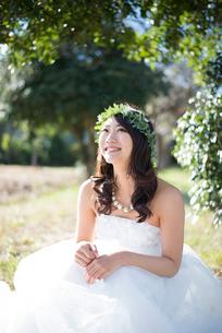 森の中で座っているウェディングドレス姿の女性の写真素材 [FYI02935915]