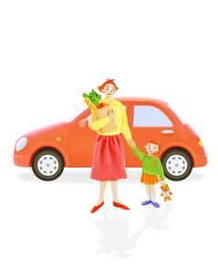 お母さんと子供と車の写真素材 [FYI02935953]