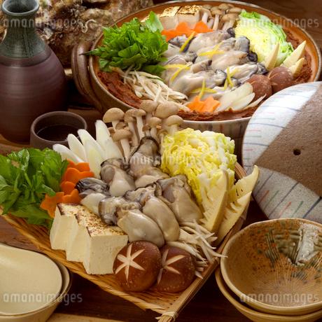 土鍋に盛ったカキ鍋の具材の写真素材 [FYI02937967]