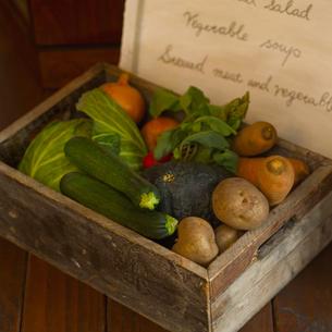 メニューと採れたて有機野菜の写真素材 [FYI02938330]