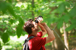Man watching birds in forestの写真素材 [FYI02938469]