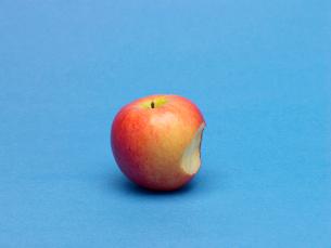 Single apple with bite markの写真素材 [FYI02939371]