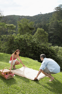 Couple laying picnic blanket on lawnの写真素材 [FYI02940156]
