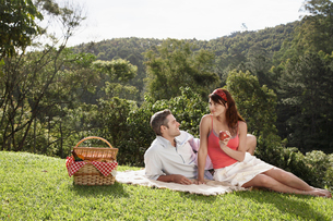 Young couple at picnicの写真素材 [FYI02940667]