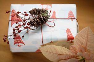 Christmas present and poinsettiaの写真素材 [FYI02940841]