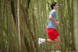 Young man jogging in forestの写真素材 [FYI02941182]