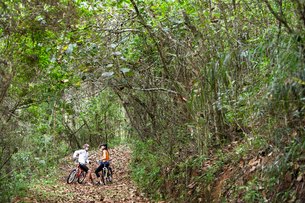 Two cyclists talking in forestの写真素材 [FYI02941628]