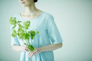 花を持つ女性の写真素材 [FYI02941869]