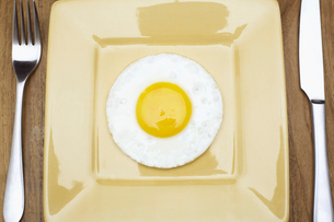Fried egg on plateの写真素材 [FYI02942275]
