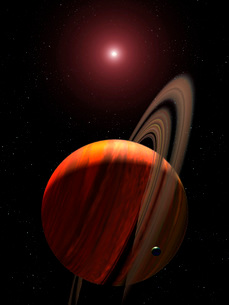 A gas giant planet orbiting a red dwarf.の写真素材 [FYI02942280]