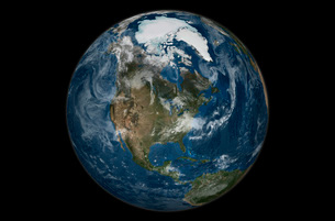 A view of the Earth with the full Arctic region visible.の写真素材 [FYI02942282]