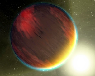 A cloudy Jupiter-like planet that orbits very close to its fの写真素材 [FYI02942294]