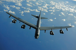 A U.S. Air Force B-52 Stratofortress flies a mission over thの写真素材 [FYI02942297]