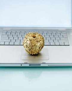 Decorative Apple on Laptopの写真素材 [FYI02942420]