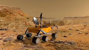 Mars Science Laboratory travels near a canyon on Mars.の写真素材 [FYI02942462]