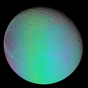 False color view of Saturn's moon Dione.の写真素材 [FYI02942491]