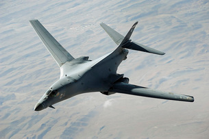 A U.S. Air Force  B-1B Lancer on a combat patrol over Afghanの写真素材 [FYI02942527]