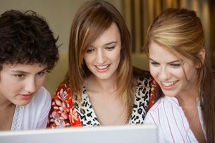 Three teenage girls using laptopの写真素材 [FYI02943276]