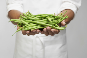 Green beans on chefs hand (mid section)の写真素材 [FYI02943330]