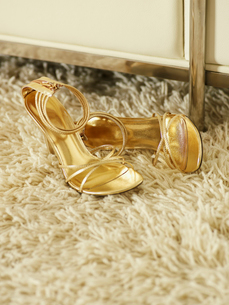 Golden High-Heeled Shoesの写真素材 [FYI02943543]