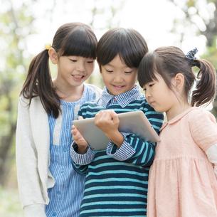 課外学習をする小学生の写真素材 [FYI02944065]