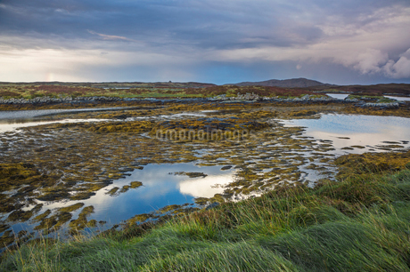 Tranquil lake view, Loch Euphoirt, North Uist, Outer Hebridesの写真素材 [FYI02944266]