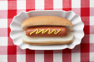 Hot dog on plateの写真素材 [FYI02944317]