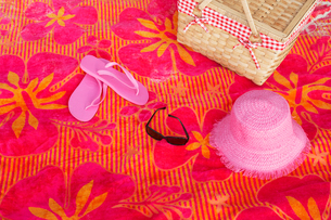 Beach attire on picnic blanketの写真素材 [FYI02944324]