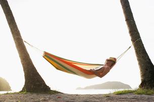 Mid adult man sleeping in hammockの写真素材 [FYI02944520]