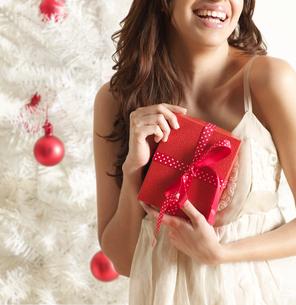 Woman Holding Christmas Presentの写真素材 [FYI02944811]