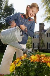 Girl watering flowersの写真素材 [FYI02945111]