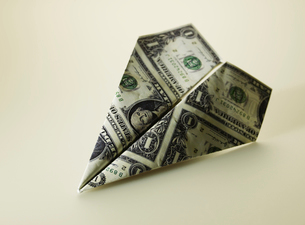 Paper Plane Made of American Currencyの写真素材 [FYI02945717]