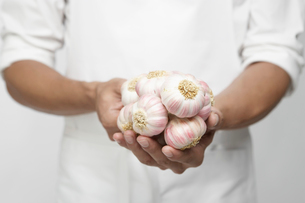 Chef holding garlic onion (mid section)の写真素材 [FYI02945990]